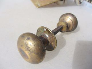 Vintage Brass Door Knobs Handles Architectural Antique Old Salvage Bathroom photo