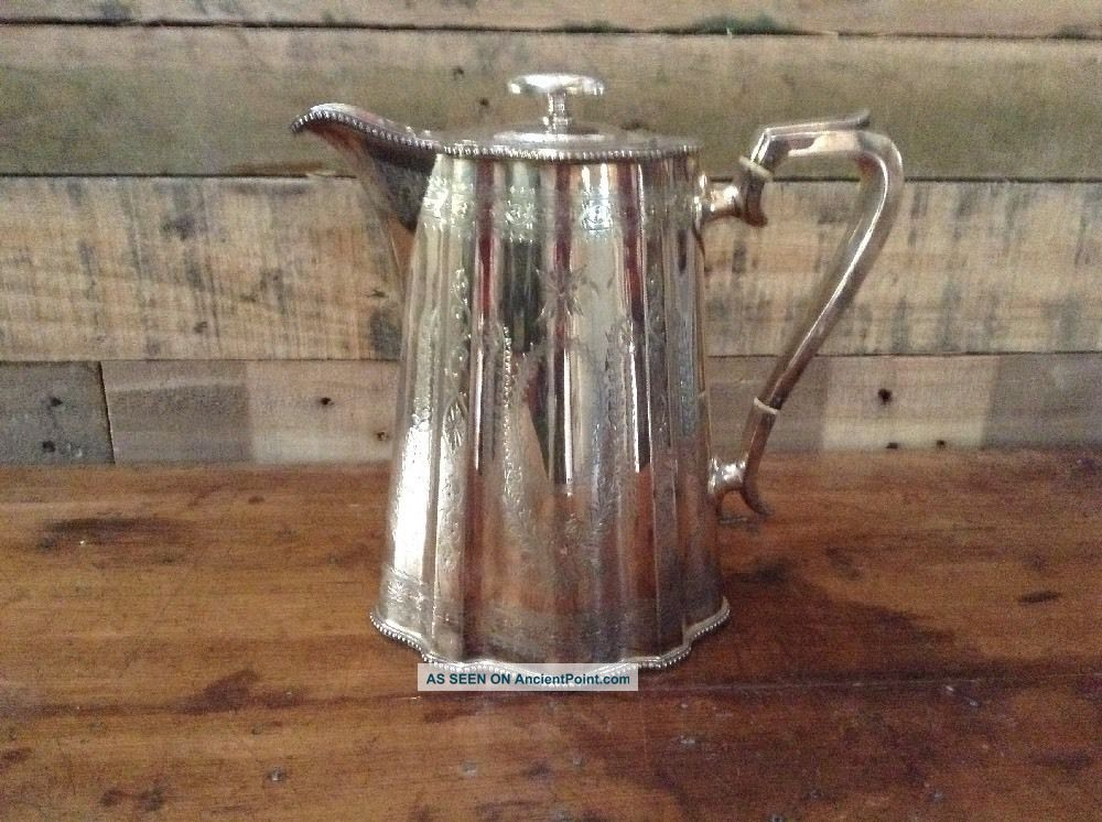 Pretty Antique Victorian Silver Plate Hot Water Or Wine Jug Engraved R&b Tea/Coffee Pots & Sets photo