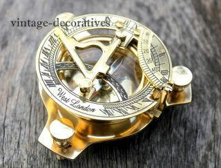 Nautical Brass West London Sundial Compass Marine Handmade Pocket Compass Decor photo