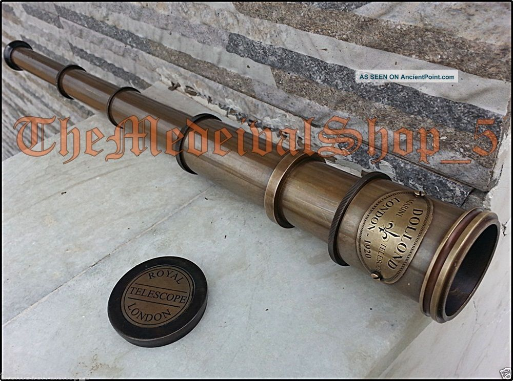 Nautical Maritime Telescope Marine Antique Brass Pirate Spyglass Vintage Scope Telescopes photo