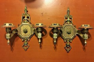 Rare 1920s Vtg Ornate Isco Art Deco Electric Wall Sconce Fixtures Lamps photo