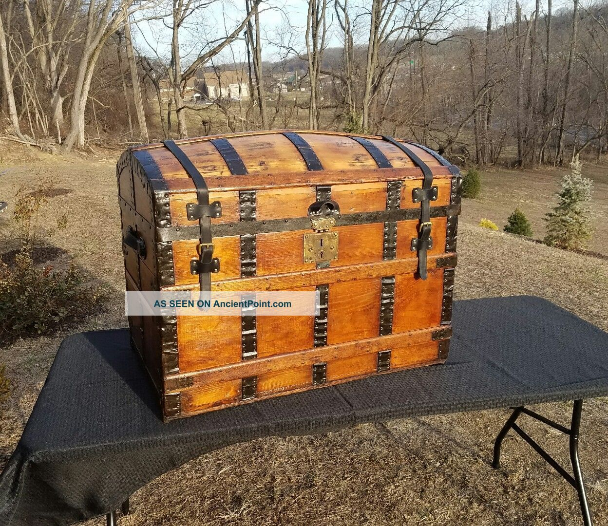 Restored Antique Dome Top Trunk With Tray 1800-1899 photo