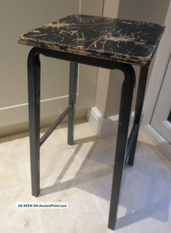 Vintage Tubular Metal Lab Stool With Black Wooden Seat,  School Science Art Room 1900-1950 photo
