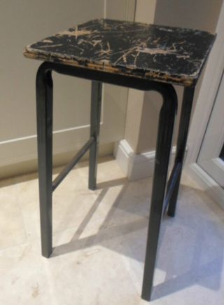 Vintage Tubular Metal Lab Stool With Black Wooden Seat,  School Science Art Room photo
