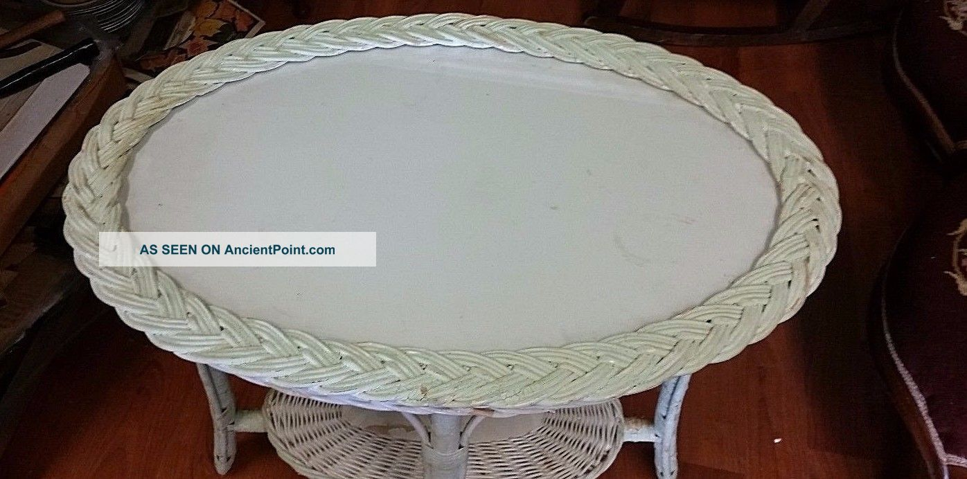 Antique White Wicker Tray Table Glass Top Sturdy Other Antique Furniture photo