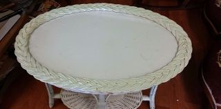 Antique White Wicker Tray Table Glass Top Sturdy photo