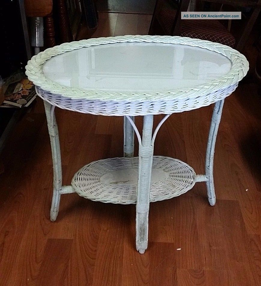 Cool Antique White Wicker Tray Table Glass Top Sturdy Home Interior And Landscaping Fragforummapetitesourisinfo