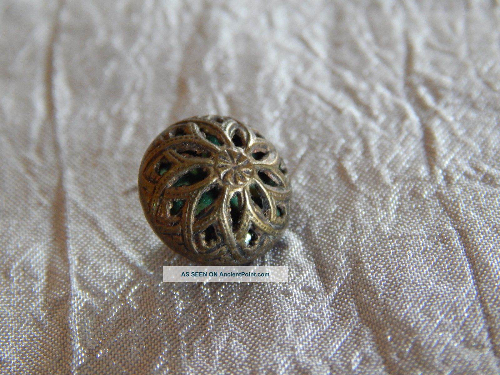 Antique Brass Button Cricket Cage 126 - B Buttons photo