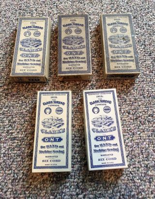 Vintage 5 Boxes Clark ' S O.  N.  T.  For Hand And Machine Sewing photo