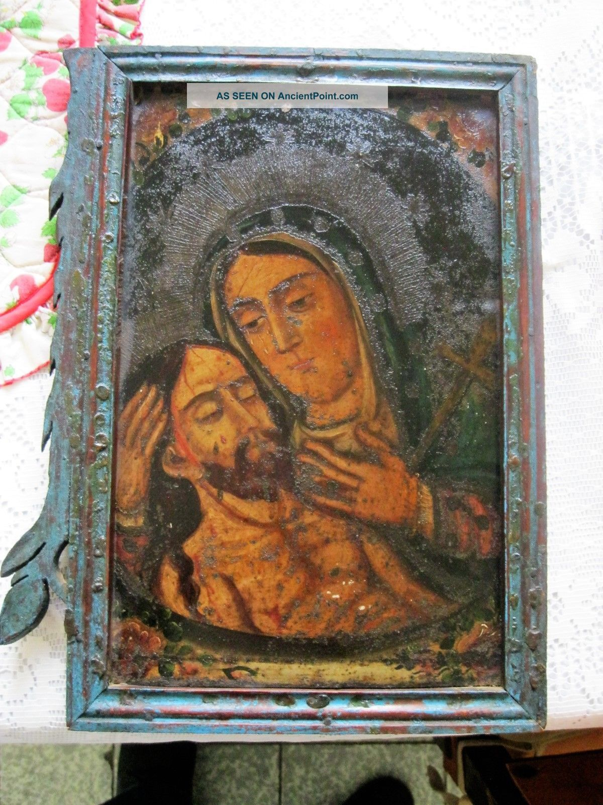 Antique Retablo On Tin Mary Holding Jesus After Crucifixion Framed Latin American photo