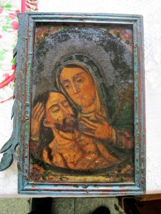 Antique Retablo On Tin Mary Holding Jesus After Crucifixion Framed photo