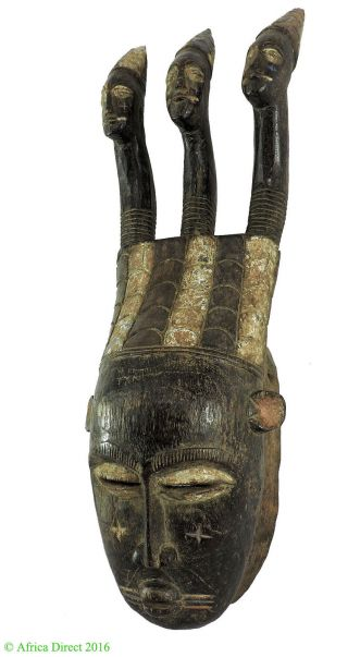 Djimini Three Headed Mask Do Society Ghana African Art Was $375 photo