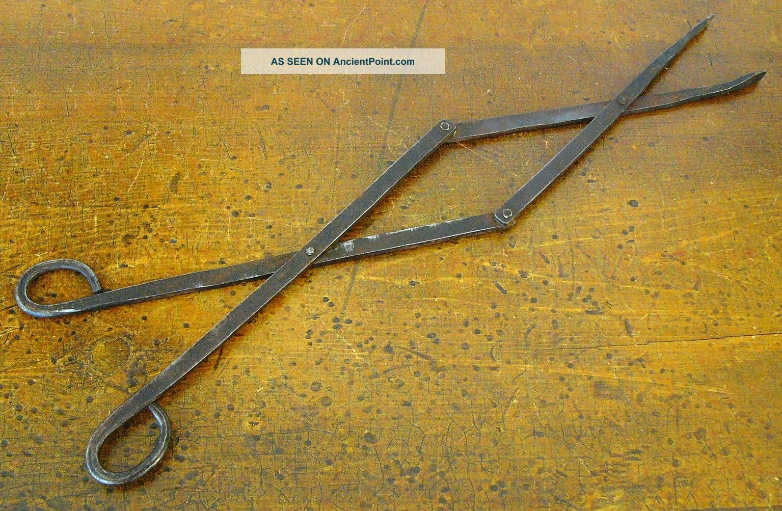 Antique 19th Cent Pa German Hearth Hand Wrought Iron Scissor Pipe Ember Tongs Primitives photo