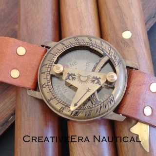 Vintage Style Maritime Nautical Brass Sundial Compass Wrist Watch Type - photo