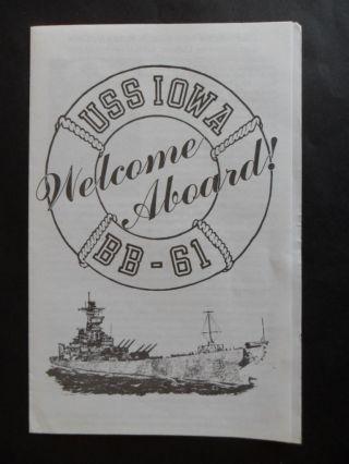 Us Navy Uss Iowa (bb - 61) Welcome Aboard C1988 Co Capt Moosally photo