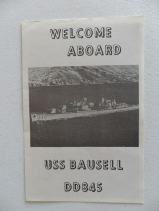 Naval / United States Navy Uss Bausell (dd - 845) Welcome Aboard C1975 photo