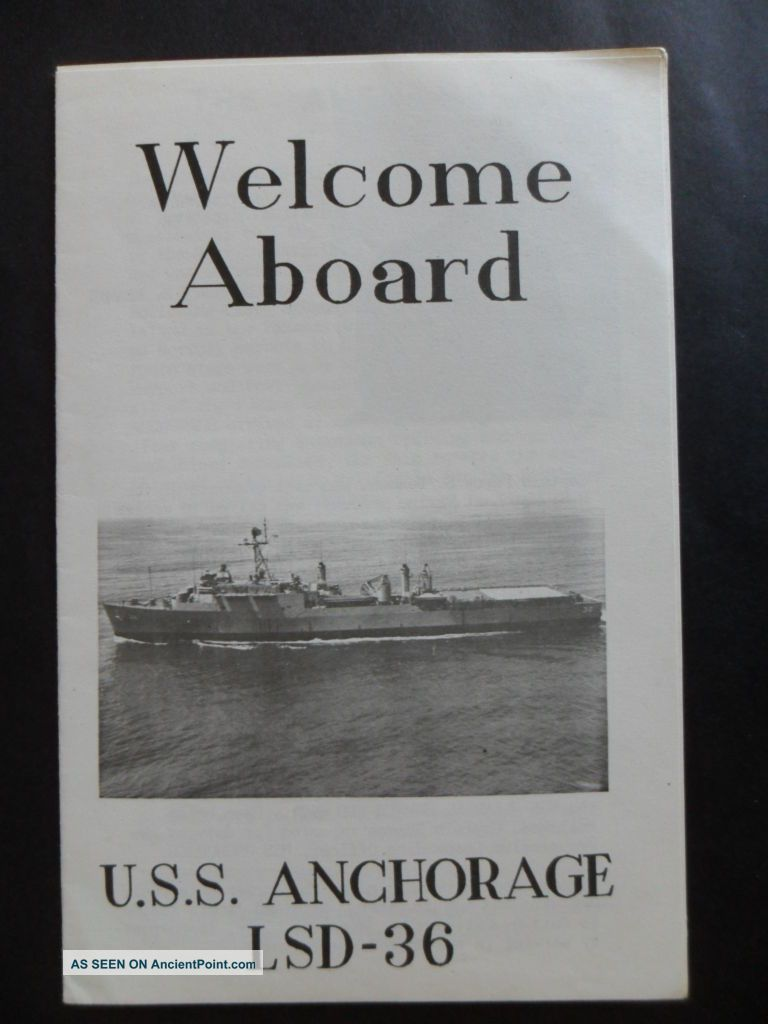 United States Navy Uss Anchorage (lsd - 36) Welcome Aboard 1969 Capt Beaman 1st Co Other Maritime Antiques photo