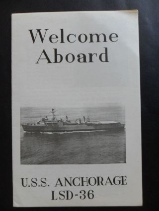 United States Navy Uss Anchorage (lsd - 36) Welcome Aboard 1969 Capt Beaman 1st Co photo