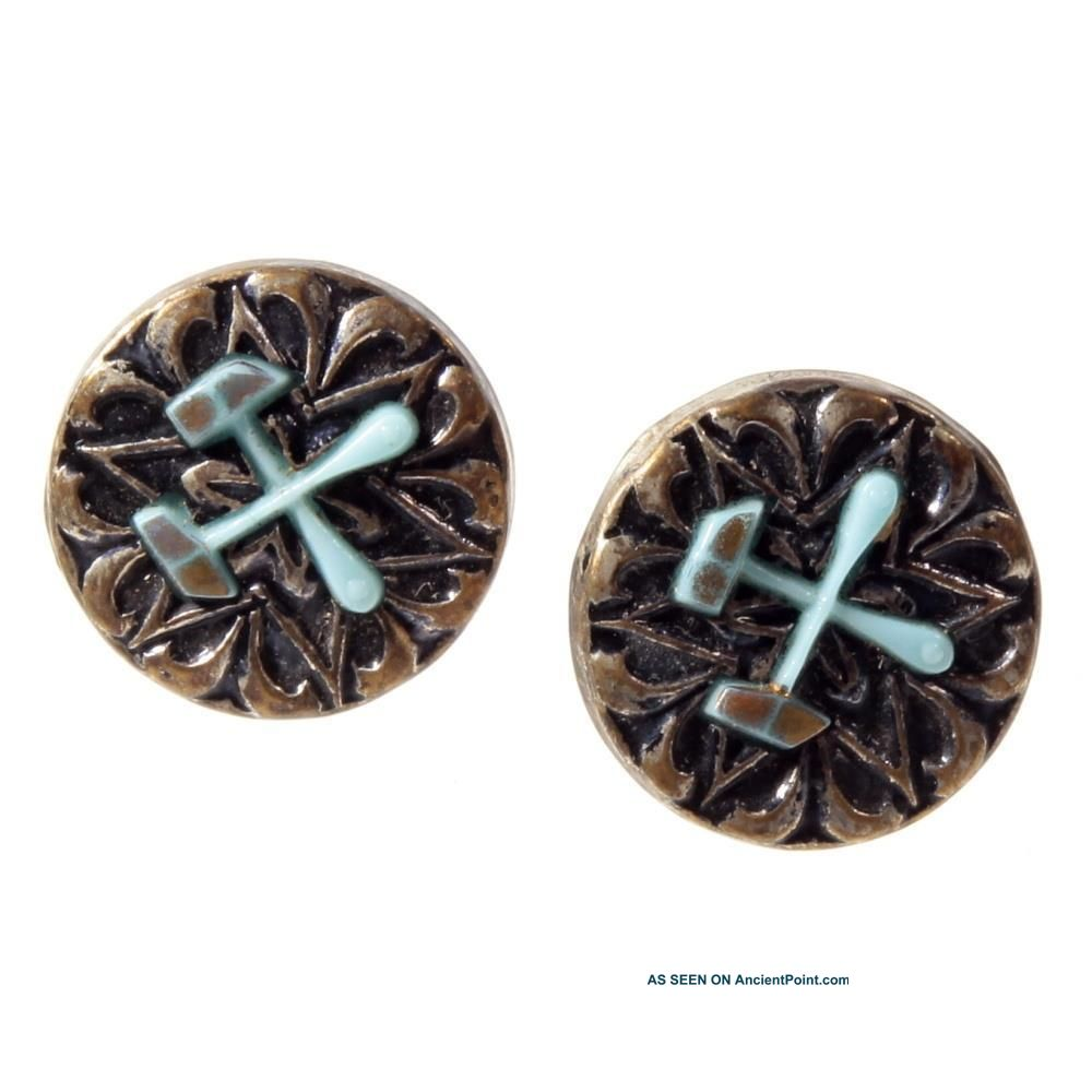 (2) Collectible Vtg 2 Part Brass Metal Crossed Glass Hammers Cuff Lapel Buttons Buttons photo