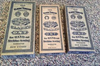 Vintage 4 Thread Boxes Clark ' S O.  N.  T.  For Hand & Machine Sewing Larger & Geneva photo