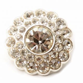 (1) 30mm Vintage Czech Silver Tone Metal Crystal Glass Rhinestone Daisybutton photo