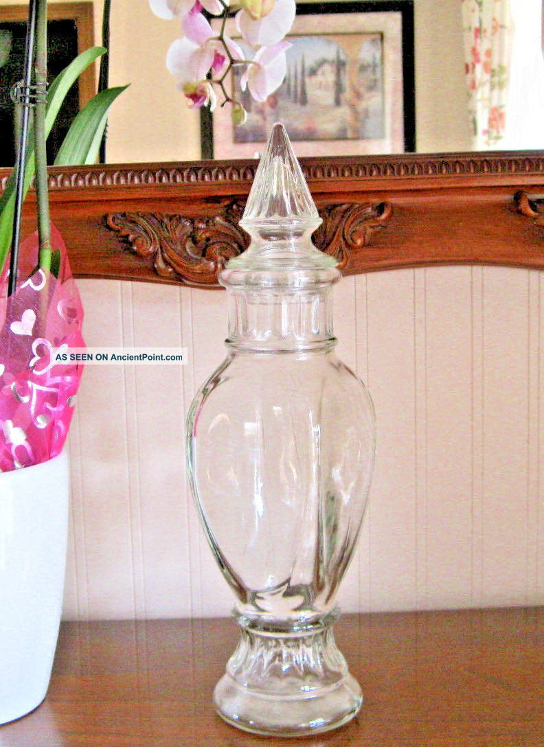 Vtg Apothecary Jar Wheaton Fluted Finial Lid Clear Glass Drug Store Candy Dish Bottles & Jars photo