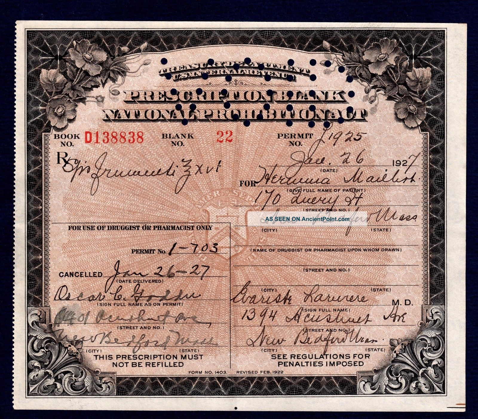 Prohibition Prescription Alcohol History Buff Antique Pharmacy Doctor Bar Ma Rx Other Medical Antiques photo