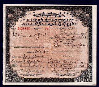 Prohibition Prescription Alcohol History Buff Antique Pharmacy Doctor Bar Ma Rx photo