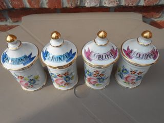 4 Antique Porcelain French Apothecary Jars.  Pagès Apothicaire à Rodez (france) photo