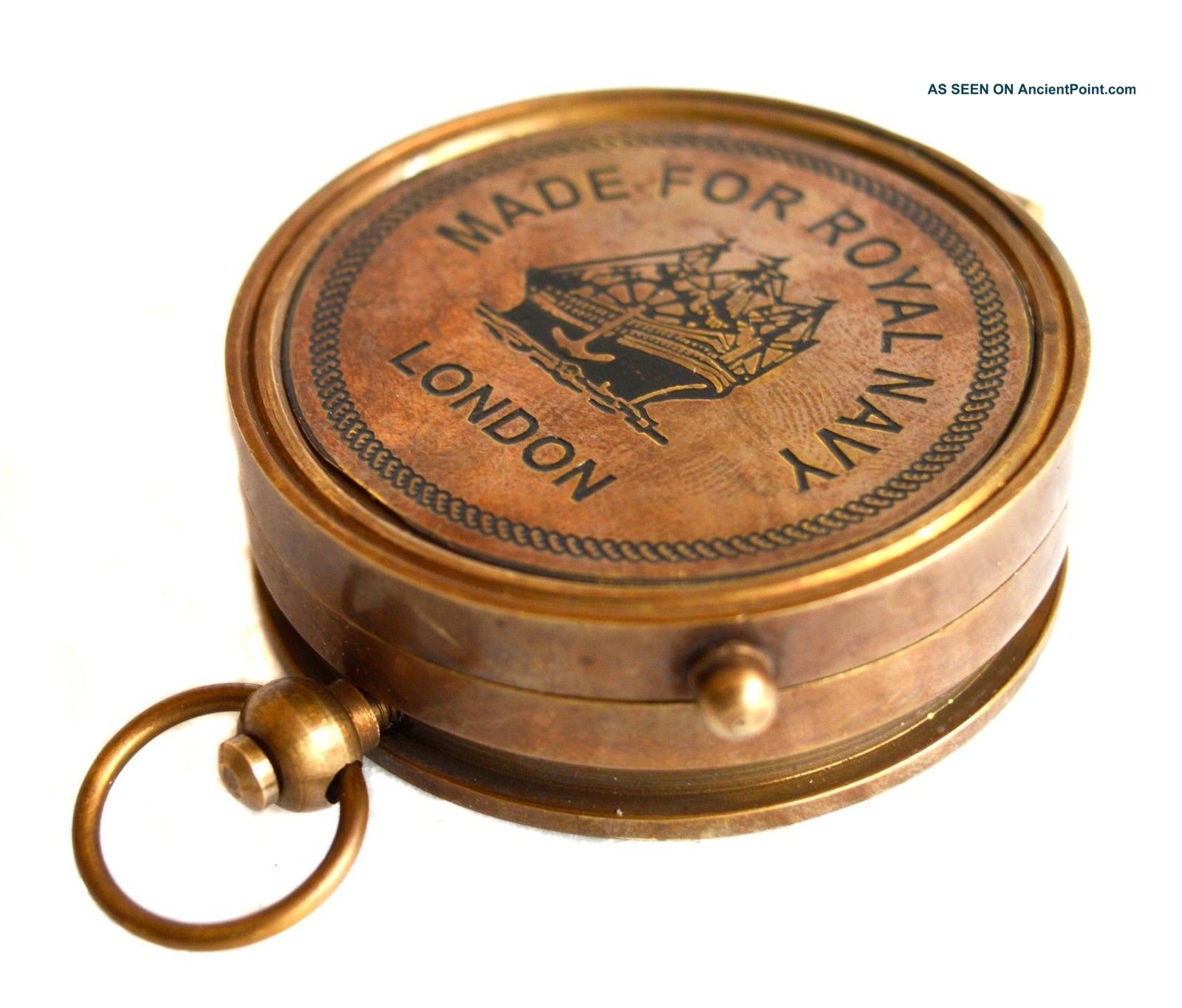Antique Brass Lid Compass Royal Navy Nautical Collectible Thread Gift Compass Compasses photo