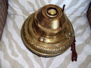 Oversized Antique Brass Electrified Oil Or Kerosene Lamp