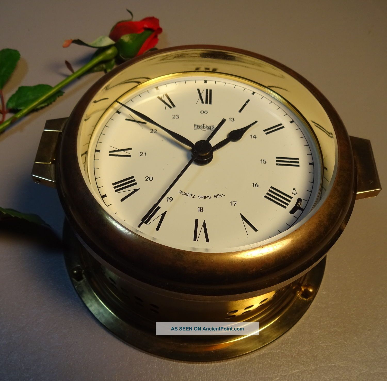 Stockburger Brass Ships Bell Clock Quartz Made In Germany C1960 Vintage Clocks photo