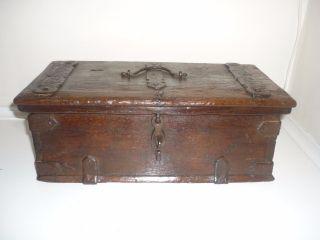 Rare 17th Century Spanish Iron Bound Oak Box C1650 photo