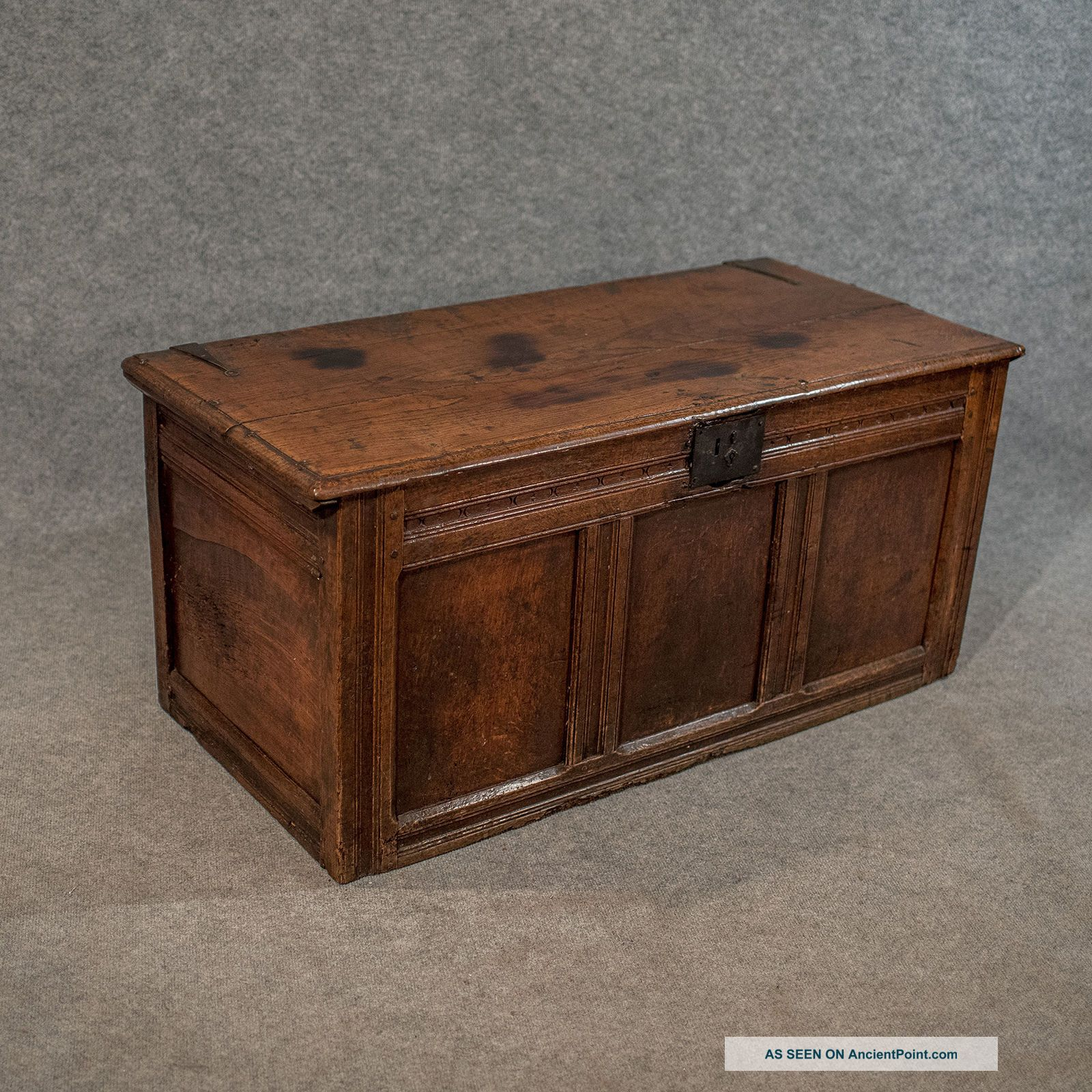Antique Small Oak Coffer Chest Storage Trunk English C1700 Coffers photo