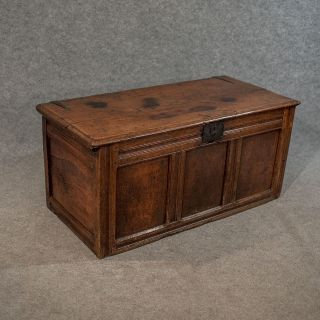 Antique Small Oak Coffer Chest Storage Trunk English C1700 photo
