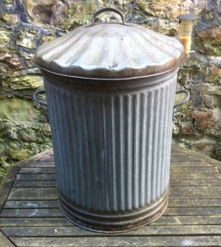 Vintage Galvanized Dustbin For Garden Use,  Storage,  Ornament,  Garden Planter photo