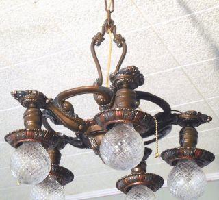 1920 ' S Antique Vintage Art Deco Cast Metal Ceiling Light Fixture Chandelier photo