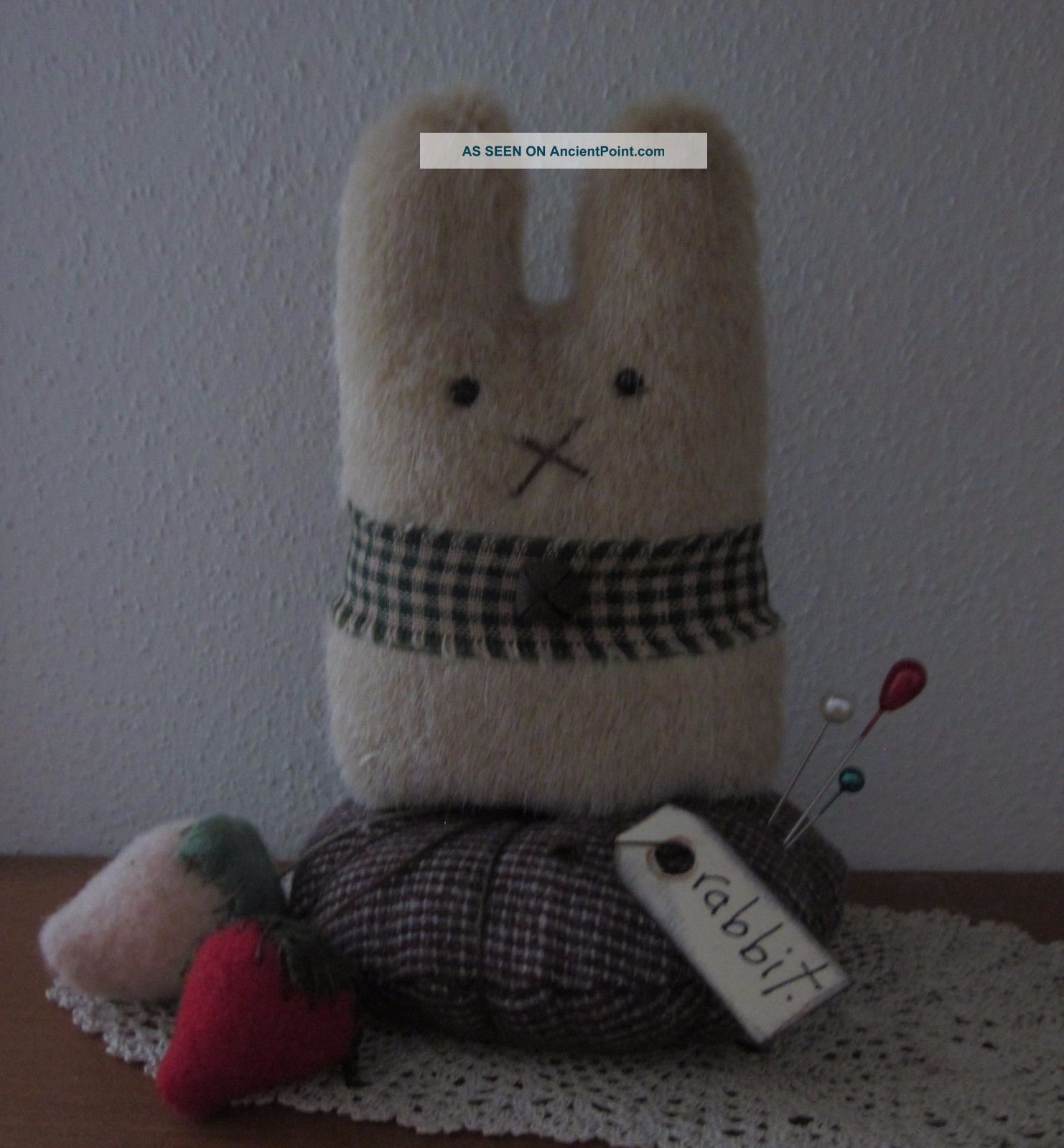 Primitive Wool Mohair Bunny Rabbit Easter Strawberry Make Do Doll Pin Cushion Primitives photo