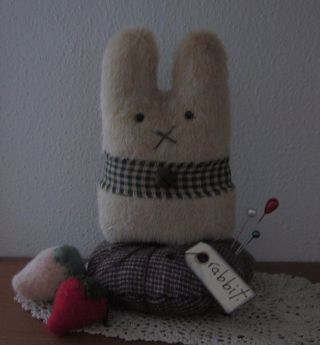 Primitive Wool Mohair Bunny Rabbit Easter Strawberry Make Do Doll Pin Cushion photo