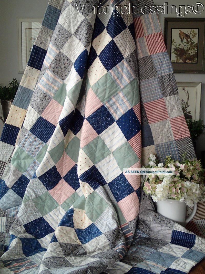 Antique C1880 Primitive Farmhouse Quilt Indigo Blue 75x74