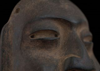 6 Inch High Serpentine Stone Olmec Mask - Antique Pre Columbian Statue - Olmec Maya photo