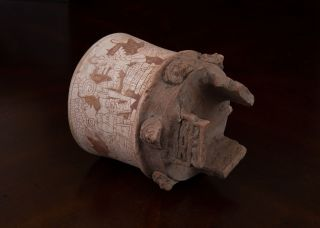 Teotihuacan Terracotta Incised Tripod Vessel - Antique Pre Columbian Style Pottery photo