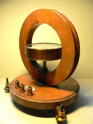 A Good,  Early,  Wood & Brass Tangent Galvanometer By Griffin Of London photo