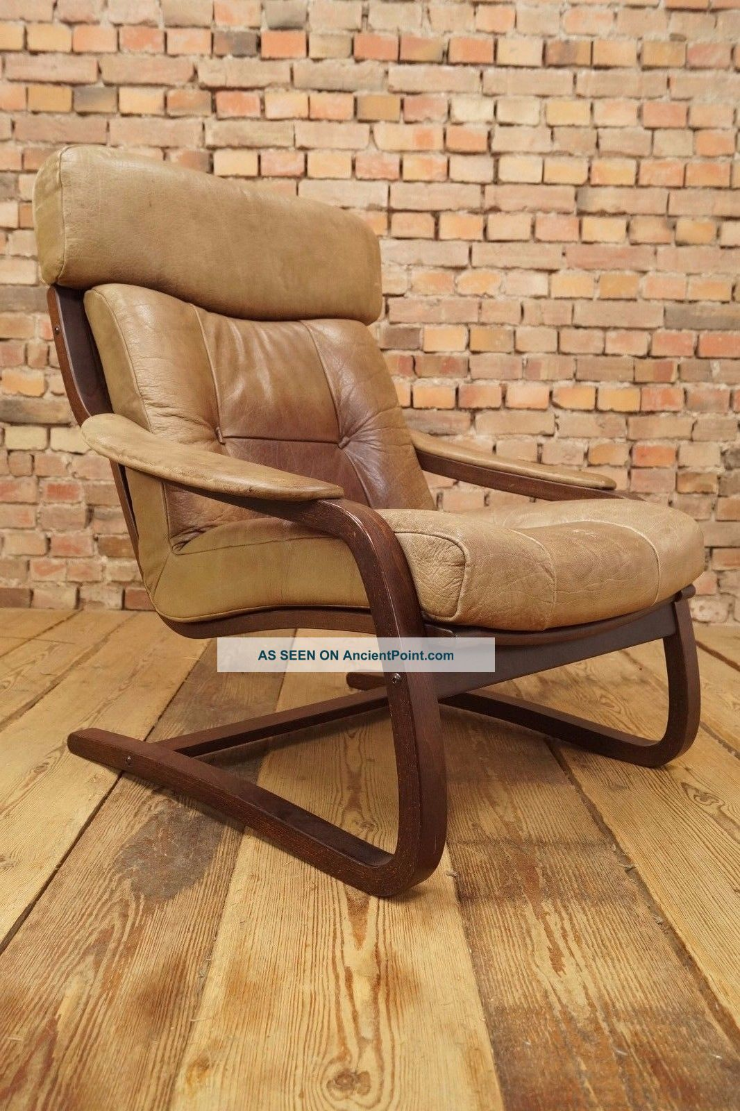 60s Retro Easy Chair Danish Leather Lounge Armchair Cantilever Fauteuil Vintage 1900-1950 photo