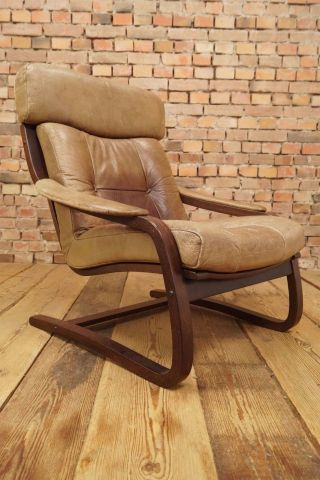 60s Retro Easy Chair Danish Leather Lounge Armchair Cantilever Fauteuil Vintage photo