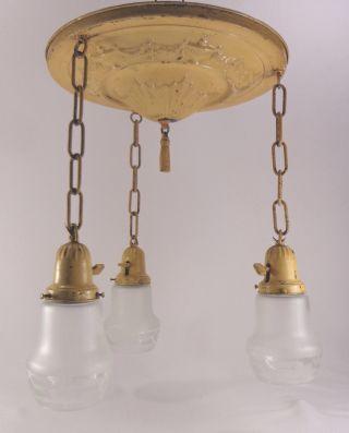 Antique Hanging Brass Chandelier Vtg Light Fixture 3 Chain Pan Art Deco Shade photo