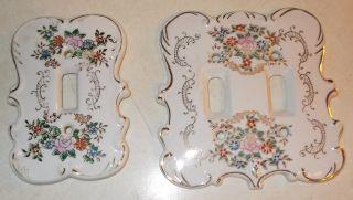 Vintage Arnat Porcelain Switchplates 2 Toggle / 1 Toggle photo