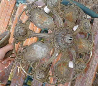 Riddle 5 Bulb Ceiling Light Fixture Chandelier Vintage photo