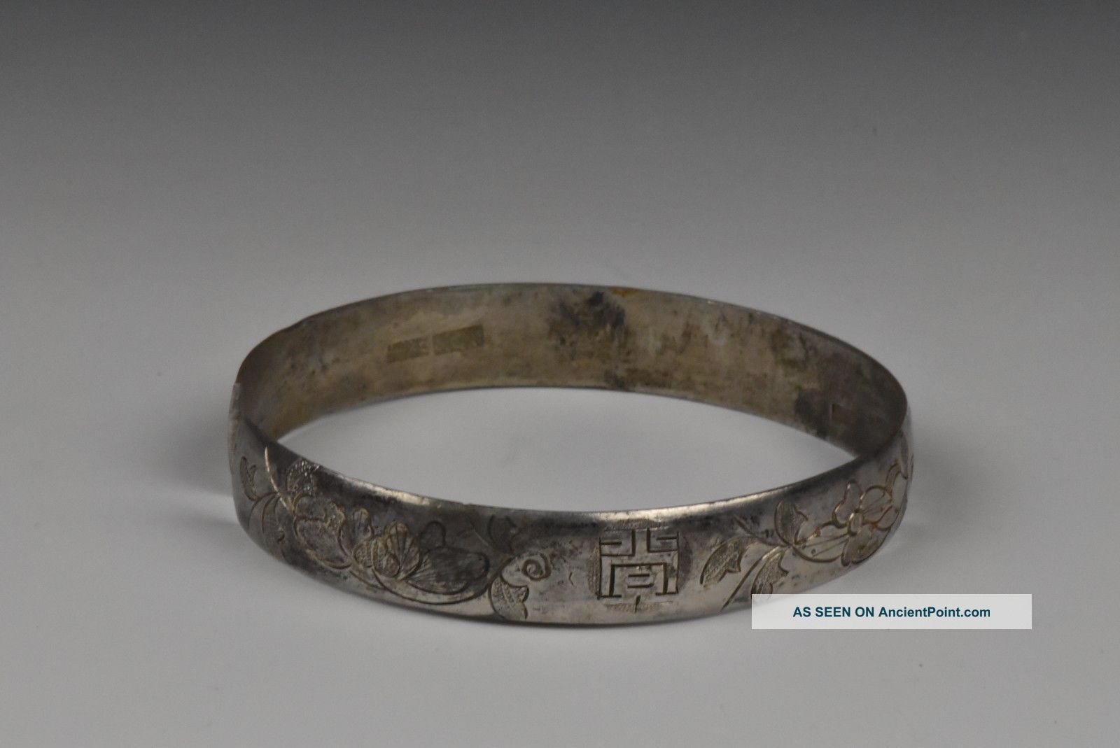 Signed Qing Dynasty Chinese Export Silver Bracelet Asia photo