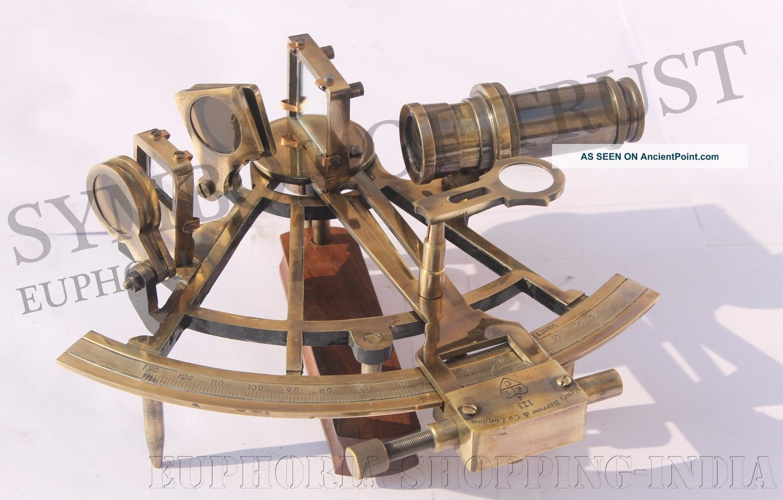 Nautical Antique Maritime Brass Sextant Vintage Collectible Nautical Gift 8